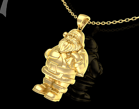 Santa Claus Pendant jewelry Gold 3D print model