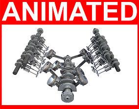 3D model Animated V8 Engine Mechanism Internal Components