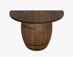 Wooden barrel console table 3D model