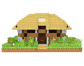 3D model House Minecraft 1
