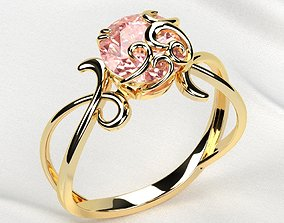 3D printable model 8mm Pink Sapphire Combined Gold Ring