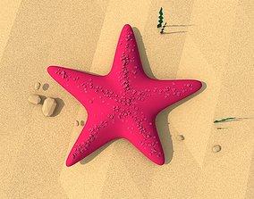 3D model Cartoon Low Poly Starfish Illustration