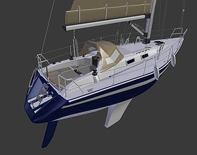 3D model Detailed Sailing Ship sea