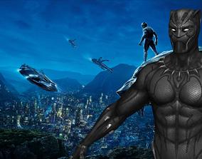 3D model rigged Black Panther