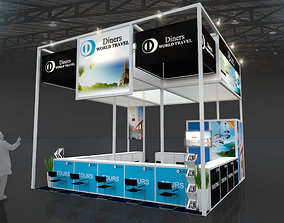Diners World Travel booth design 3D model VR / AR ready 1