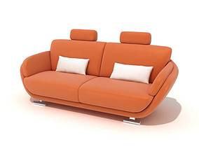 3D model Orange Couch With White Pillows