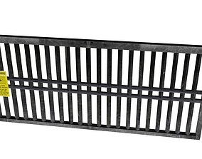 3D model Gate with Warning Text