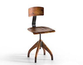 Vintage Bauhaus Oak Chair 3D model