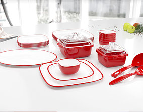 3D model Red dish set