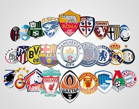 50 Football Teams 3D Logo Collection Pack