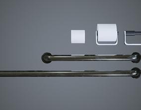 Bathroom Items icluding Rails Toilet Roll 3D asset 2