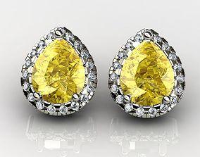 Fancy Yellow Pear Cut Diamond Earrings 3D printable model