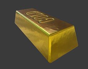 3D model Gold Bar PBR game ready asset