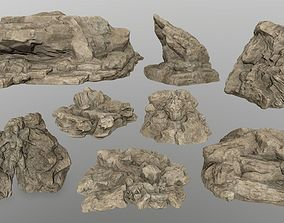 mosy rocks 3D asset low-poly