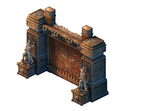 3D Game model - the tomb stone carving door