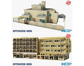 3D model game-ready Two Building Set
