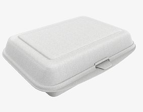 3D model Take away lunch polystyrene box 03 closed
