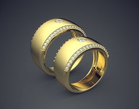 3D print model Classic Golden Thick Wedding Rings With