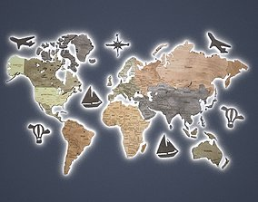 wooden map on the wall 3D model game-ready