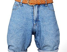 3D model VR / AR ready Shorts Jeans Brown Belt Women
