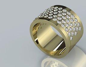 Thick 5 Row Gem Plain Ring simple 3D print model