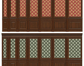 Wood panels with wallpaper 04 3D model