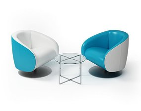 3D model Living Room Furniture Seats Glass Table