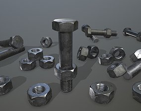 iron 3D model low-poly Bolts
