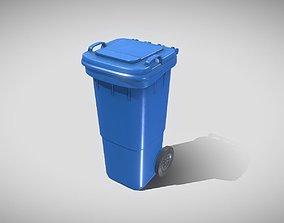 Plastic Waste Bin Blue 60 Liters 945x360x448 3D asset