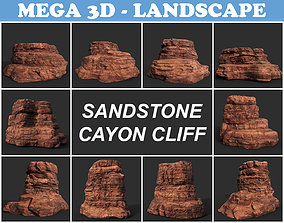 3D model Low poly Sandstone Canyon Cliff 210223