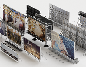 Billboard collection 3d model low-poly