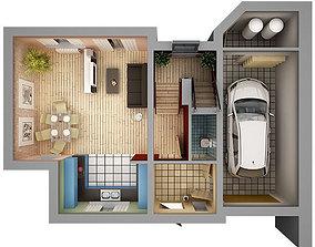 3D model Home Interior Floor Plan 01