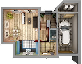 3D model Home Interior Floor Plan 01