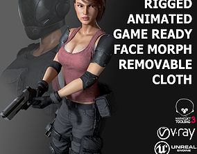 Female Soldier 1 3D model animated
