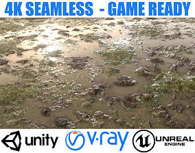 3D Realistic Wet Grass Ground