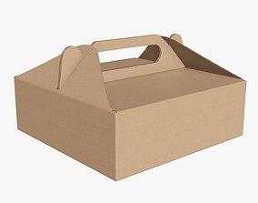 Gable box cardboard food packing 03 3D