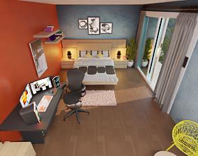 3D bed Modern Bedroom Interior