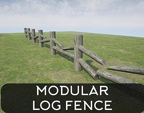 3D asset Modular Log Fence