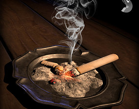 WWI ashtray with cigarette 3D asset