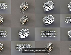 3 Brilliant ring set 3D