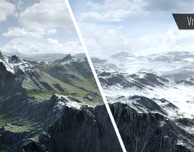 3D asset Mountain with Summer and Winter Textures
