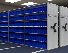 Mobile shelving system 3D asset