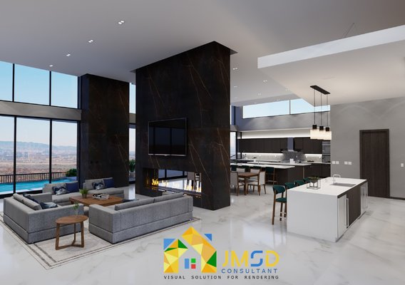 3D Interior Visualization for Living Room with Open Kitchen Designs Rendering in  Las Vegas NV