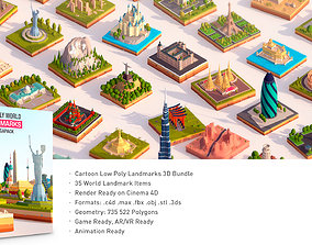 Polygonia Cartoon Low Poly Landmarks Mega Pack 3D model