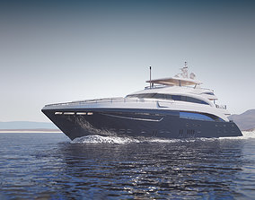Large luxurious yacht 3D model