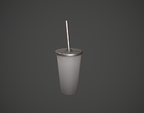 Grey Tumbler with Straw 3D asset
