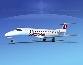 3D model Embraer ERJ-135 Swissair