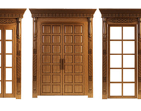 3D model Doors and windows - carved aprons detail
