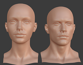 Basemesh Female Male Head Blendshape 3D model game-ready