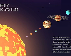 Low Poly Solar System 3D asset animated game-ready